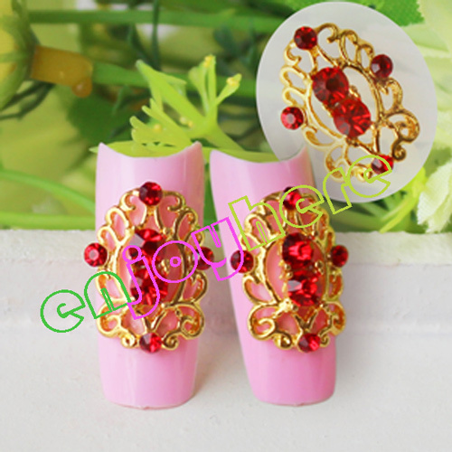 2015 Free Shipping 10pcs/pack Gold Alloy Hollow Out Decorations For Nails, Glitter Red Rhinestones Nail Design(China (Mainland))