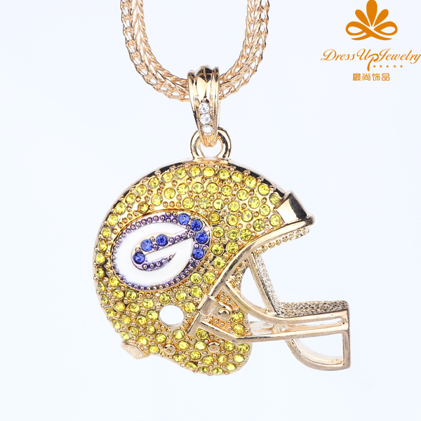 2015 Special Offer Trendy Unisex Collier Accessories Fine Jewelry New Design For Nfl Bay Packers Helmet Charm Necklace-stebp2012(China (Mainland))