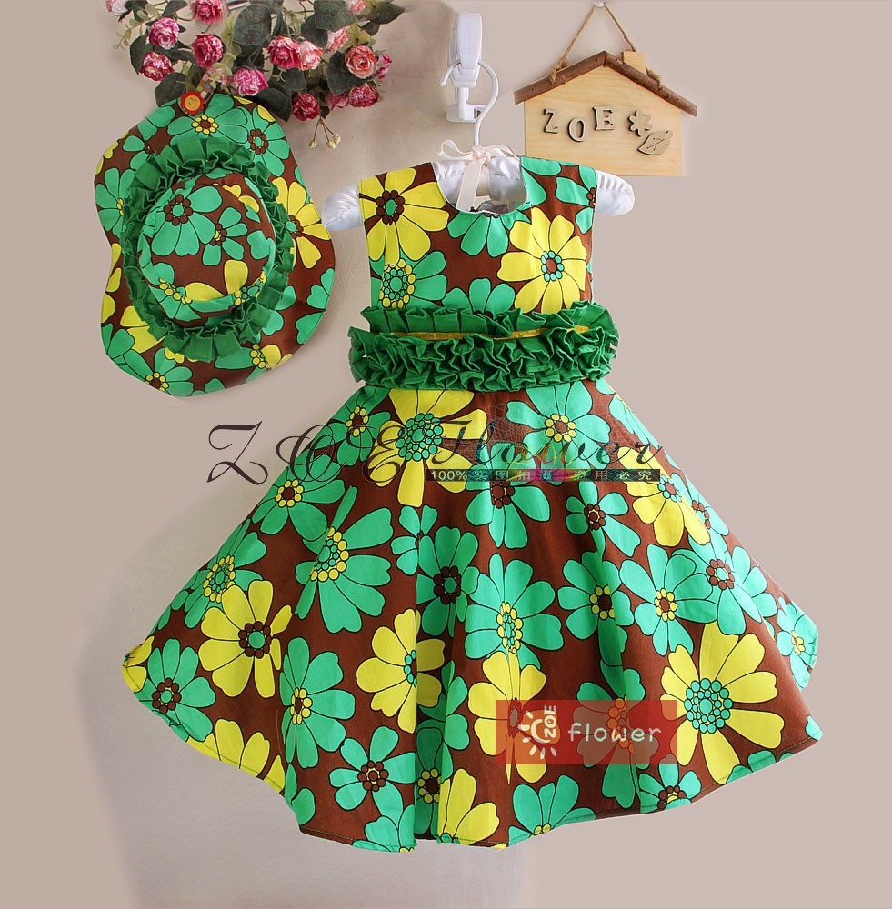New Fashion Floral Girls Dress with Hat print Green Flower summer dress girl party dress free shipping(China (Mainland))