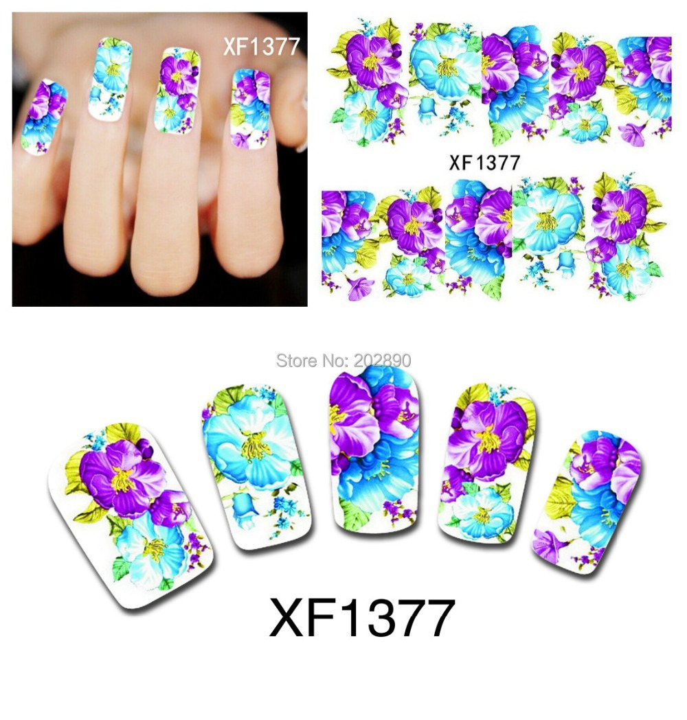 1sheets Nail Art Water Transfer Stciker Decals Purple Flower Designs Stickers Tattoos Decorations Tools for Polish  XF1377(China (Mainland))