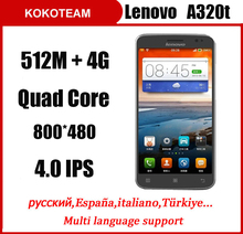 Multi-language Original Lenovo A320T 4.0'' Android 4.4 Smart Phone MTK6582 Quad Core 1.3GHz RAM 512MB+ROM 4GB GSM Network(China (Mainland))