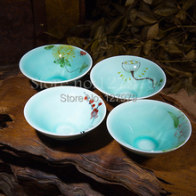 On sale! Pure hand painted Celadon ware tea cups, porcelain cup set, ceramic teacup, Bamboo hat style, 4pcs / set~(China (Mainland))