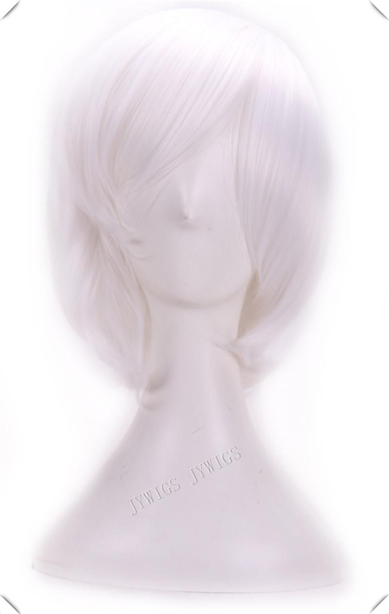 Short White Wig Harajuku Anime Wig Cosplay Short Bob Wavy Heat Resistant Short White Wig<br><br>Aliexpress