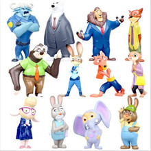 2016 12pcs/lot 4-7cm new Movie Zootopia Cartoon Utopia Action Figure Movie Pvc Mini Models Nick Fox Judy Rabbit Free shipping