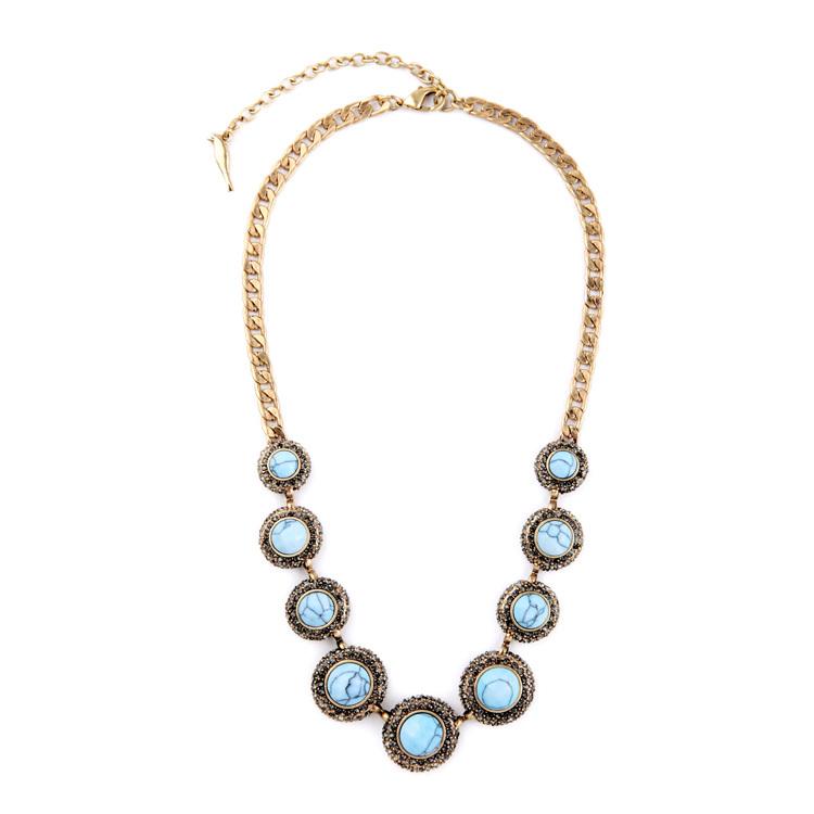 New Arrival Famous Brand Round Rhinestone Colar Summer Dress Jewelry Mixed Natural Stone Women Statement Choker Necklace Bijoux (China (Mainland))