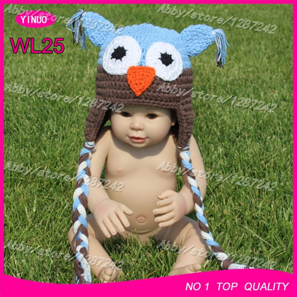 Free shipping 3-5days delivery blue and brown baby owl crochet hats pictures all kinds animals(China (Mainland))