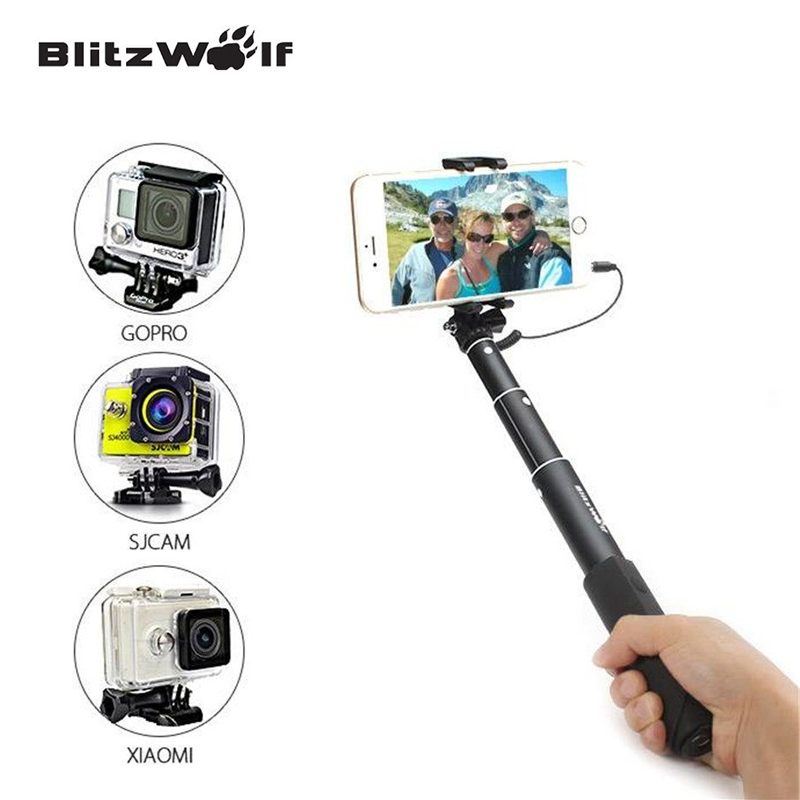 blitzwolf wire mini extendable selfie stick monopod for iphone 6 for samsung for galaxy