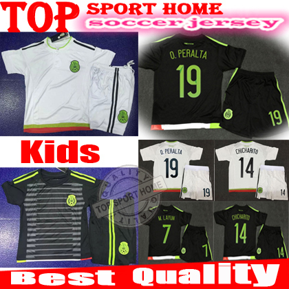 Best Quality mexico Kids 2015 Mexico Children Soccer Jersey Mexico jersey Kits 2015 2016 Football Shirt Uniform(China (Mainland))
