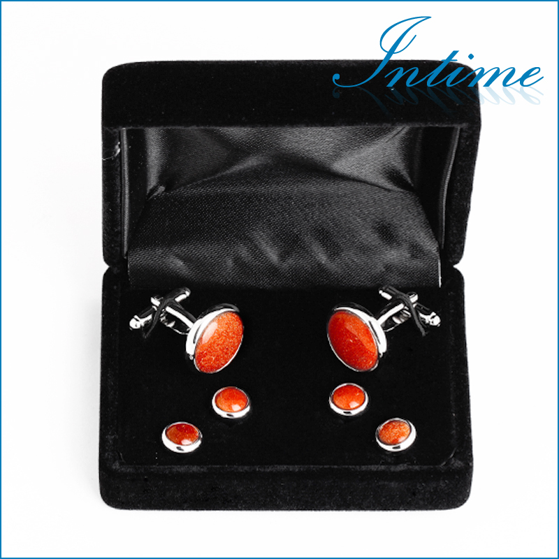 2015 Special Gold sand stone metal Buttons Cufflinks and Buttons sets Shirt Studs with box<br><br>Aliexpress