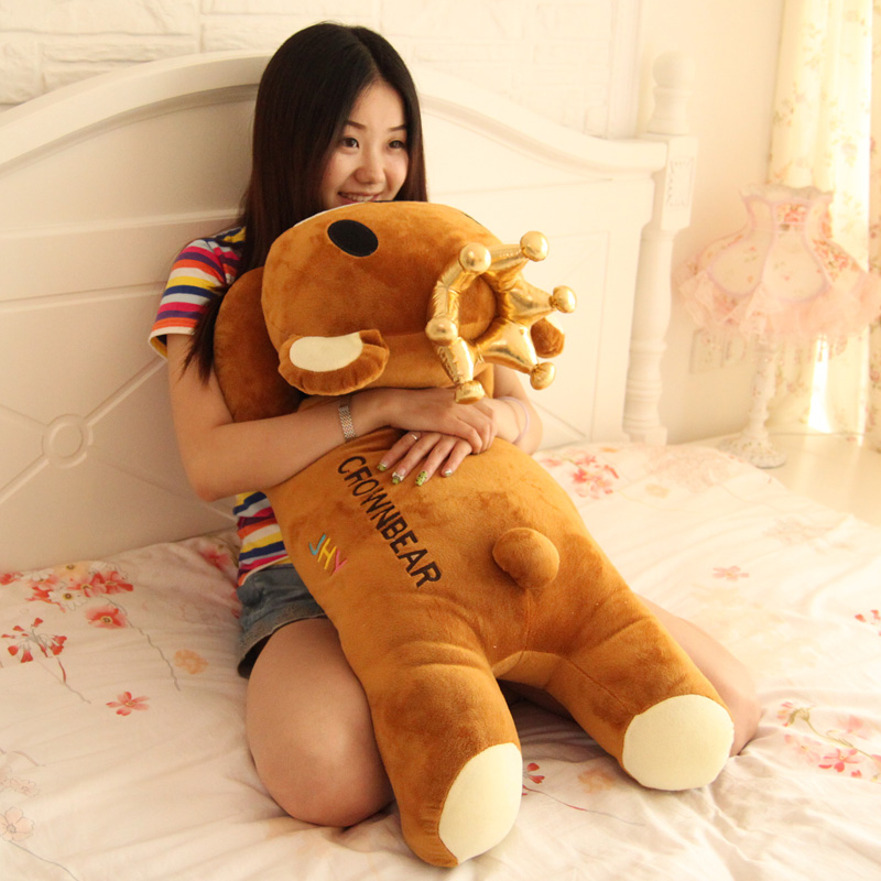 Birthday gift crown bear about 60cm doll Large plush teddy bear pillow girlfriend gifts t8730(China (Mainland))
