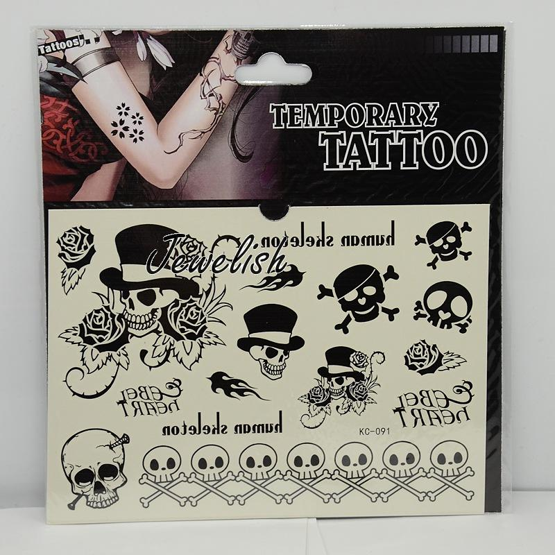 Halloween Ornaments Cool Body Art Mixed Skull Removable Fake Temporary Tattoos Paper Stickers, Black, 13~117x9~62mm; 1pc/bag(China (Mainland))