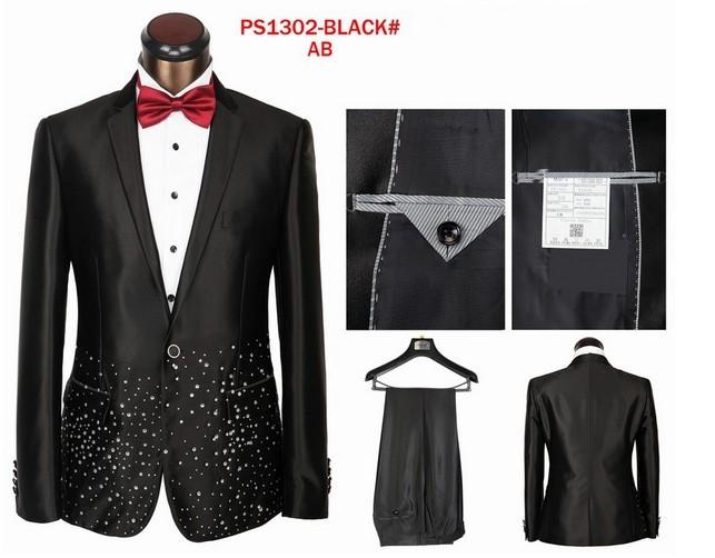Black White Mens Suits Italian Brand Dot Printed Formal Suits For Wedding Designed Tuxedo Men ...