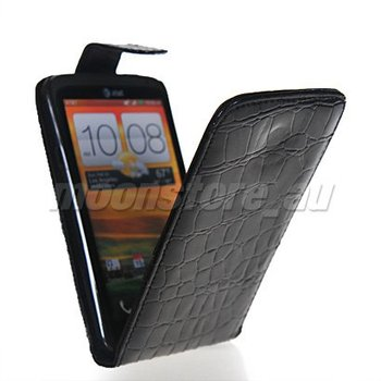 CROCODILE FLIP LEATHER POUCH CASE COVER  FOR HTC ONE X FREE SHIPPING
