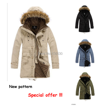 Free Shipping+4colors+Hot Sale Winter Woolly hat warm coat New Fashion Mens Coat Warm Hooded Long Coat Outerwear