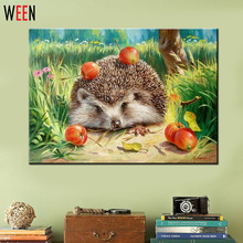 Wall Pictures for Living Room Cuadros Hedgehog Coloring by Numbers Canvas Oil Paintings DIY Digital Oil Painting Art  Home Decor(China (Mainland))
