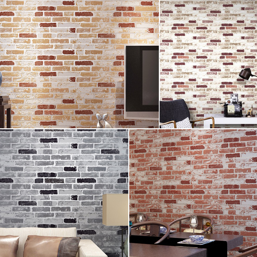Selbstklebende Tapete Ziegel : Faux Brick Wall Living Room