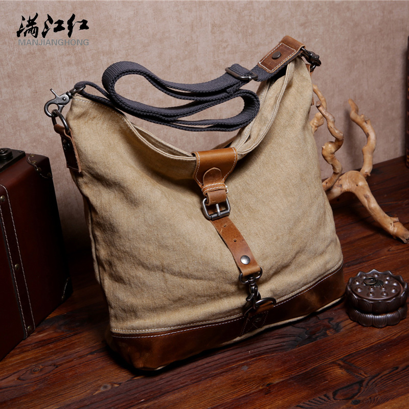 Manjianghong Best Quality Leather Canvas Bag Washed Cotton Canvas Bag Man's Cow Leather Messenger Bag Dural Use 1529(China (Mainland))