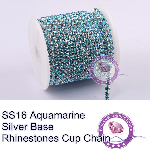 Bright Luster Sewing Accessories SS16 Aquamarine 10 Yards Silver Base Density Rhinestone Cup Chain For Luxury Dress(China (Mainland))
