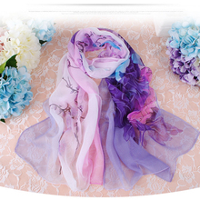 2017 new fashion silk georgette cloth long thin women Spring and summer scarf with two raw silk scarves for female(China (Mainland))