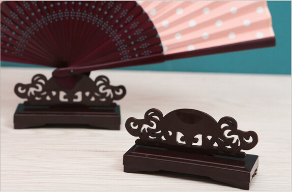 Hand Fan Stand : Hand folding fan stand bamboo silk paper lace fans stands