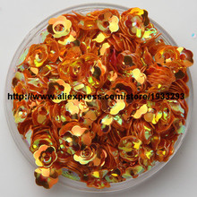 3000pcs/lot (60g) 6mm Plum Blossom Orange Color Cup Loose Sequin Paillette Sewing,Wedding Craft,Kids DIY Garment Accessorie(China (Mainland))