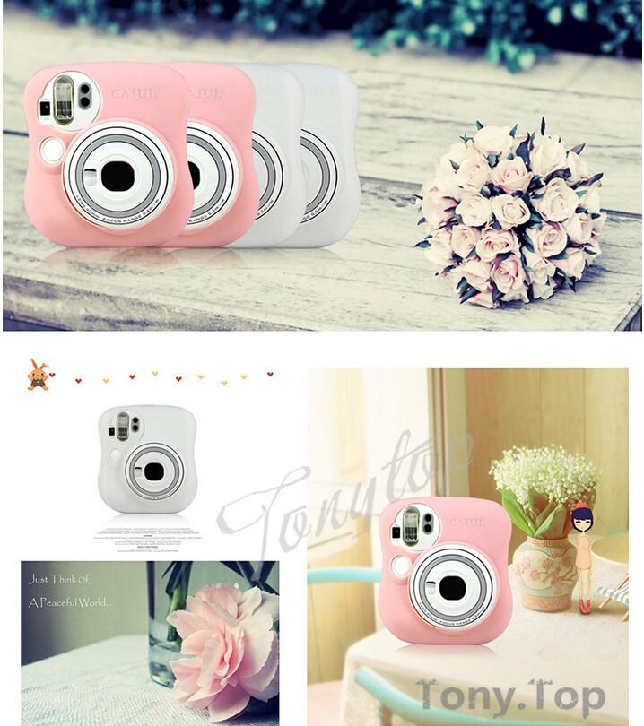 Newest Fujifilm Instax Mini 25 Camera Bag Transparent Camera Protector For Fujifilm Camera Pink(China (Mainland))