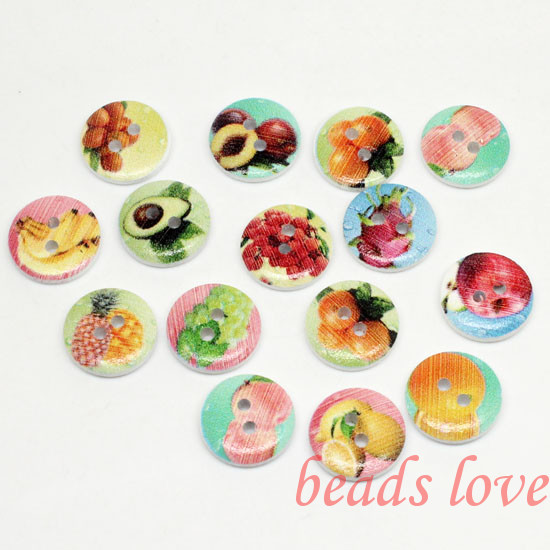 """5Mixed 2 Holes """"fruit"""" Cartoon Wood Sewing Buttons Scrapbooking 15mm Knopf Bouton(w02789) - monstar store"""