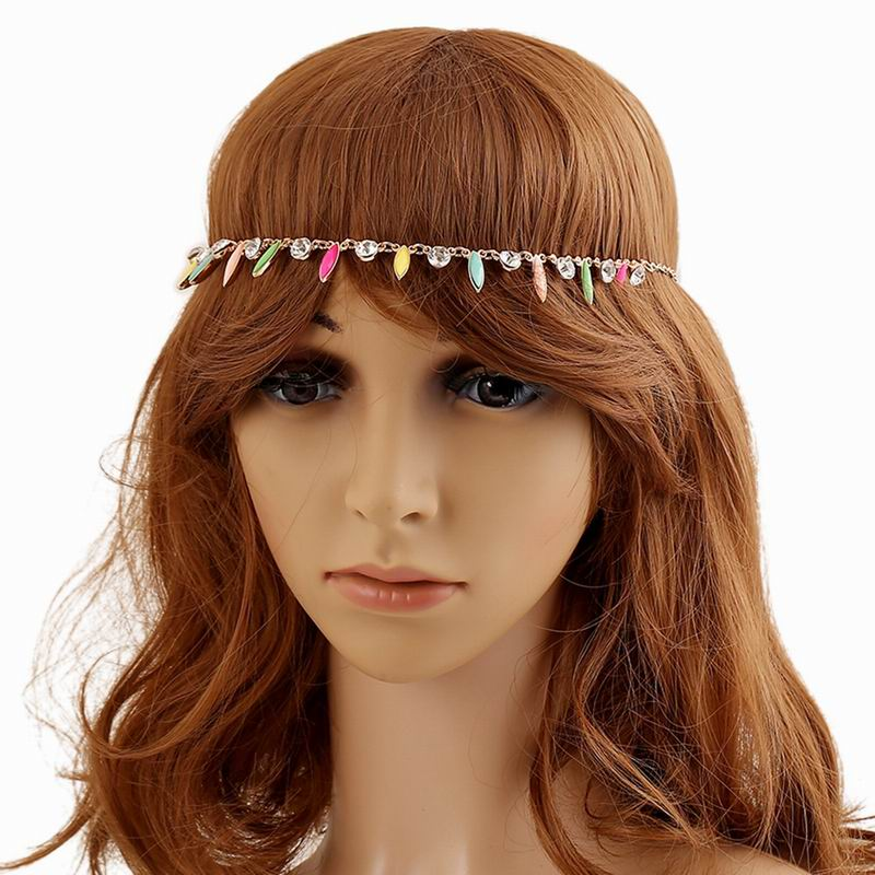 Fashion Women's Hot Colorful Acrylic Crystal Rhinestone Tassel Elastic Hair Band Headband Hair Accessories women Tiaras SF814(China (Mainland))