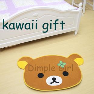 plush cartoon round bear doormat ,rilakkuma rugs, For Girl,kawaii animal Printed