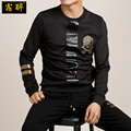 Embroidery skull PU stitching high quality long sleeve t shirt 2016 Autumn Winter European style new