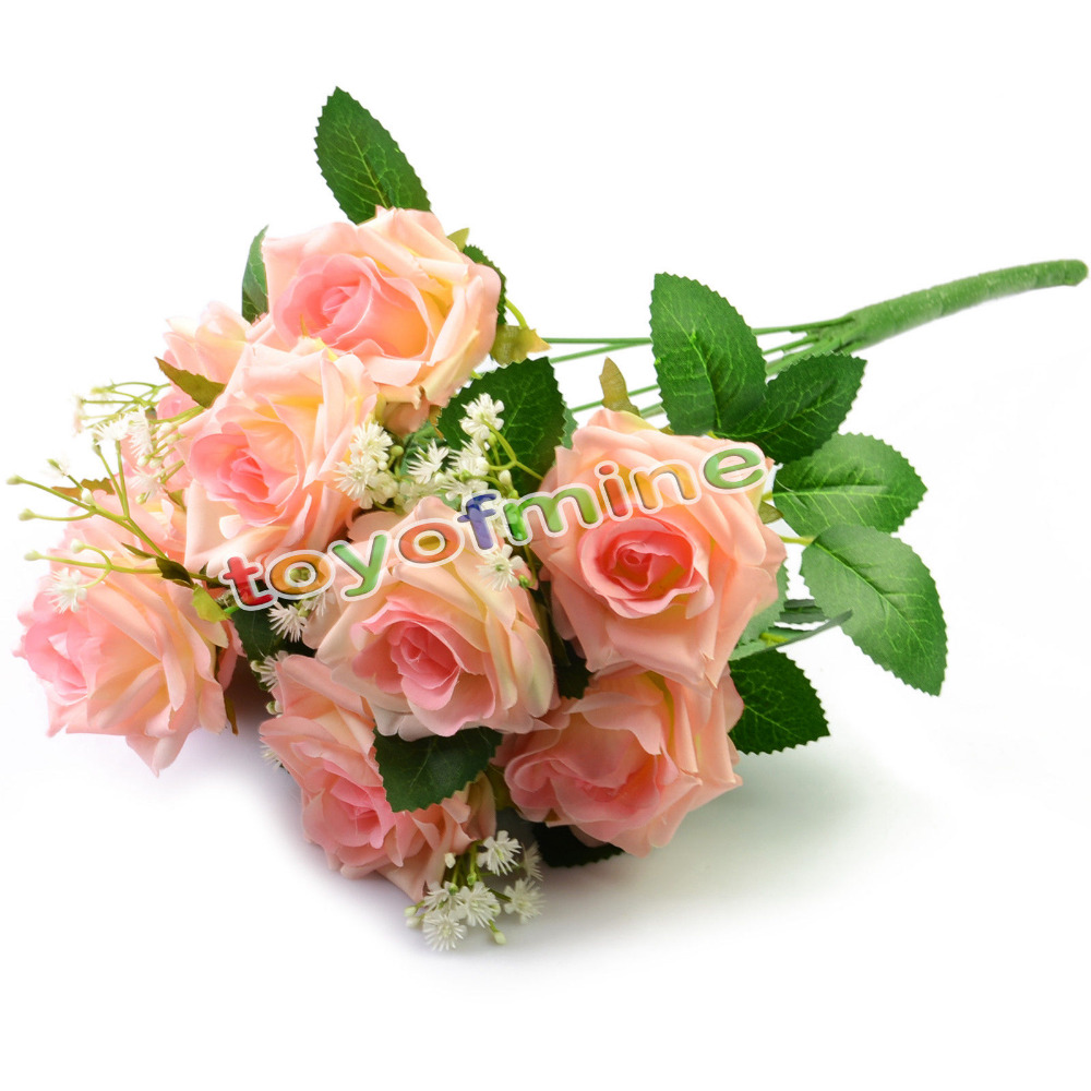 Hot Charming 11 Heads 1 Bouquet Milan Rose Artificial Silk Flower Decoration Bridal Party Table Dec Wedding Party Decor(China (Mainland))