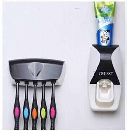 One Set Toothpaste Dispenser Holder 3M Sticker Quality Squeezer For Toothpaste Toothbrush Box Rack Automatic bathroom uh079(China (Mainland))