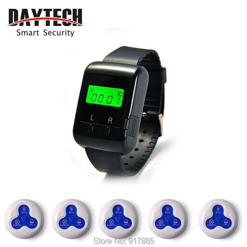 Wireless Calling System Pager Watch Restaurant Calling System Nurse Call Hospital Club Buzzer 1 pc Wrist Watch 5 pcs call button(China (Mainland))