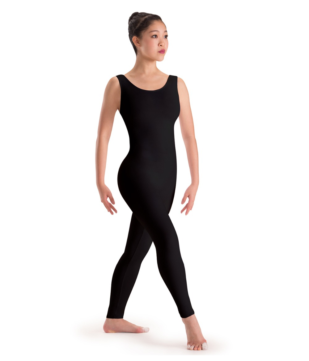 Black spandex dance unitard gymnastics and dancewear - Adult Basic Ankle Length Footless Women Black Unitard Tank Ballet Dance Gymnastics Leotard One Piece Lycra Spandex Dancewear