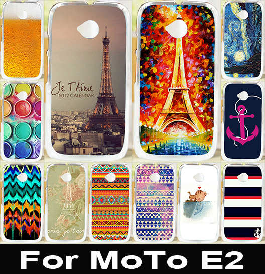 Good Selling Print Eiffel Tower Serie Painted Hard PC Cover Case For Motorola Moto E2 E 2nd Gen Case Cover For Moto E2 E+1 Shell(China (Mainland))