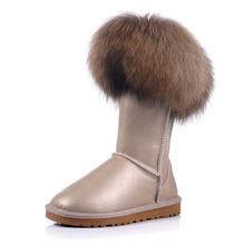 2016 nuevo soft siesta moda de piel de zorro botas de nieve impermeables de las mujeres rodilla botas de invierno plana botas de piel de plataforma tamaño de los zapatos 35-45(China (Mainland))