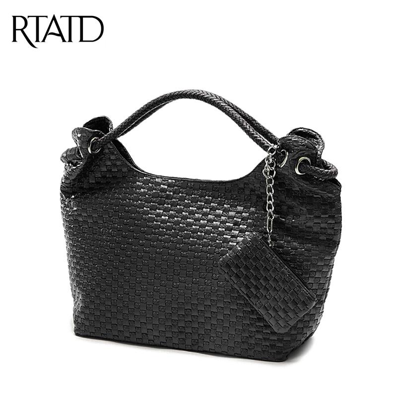 2016 Korean Style woven bag vintage Ladies handbags women cute tote bags PU leather Shoulder bag Fantastic QF040(China (Mainland))