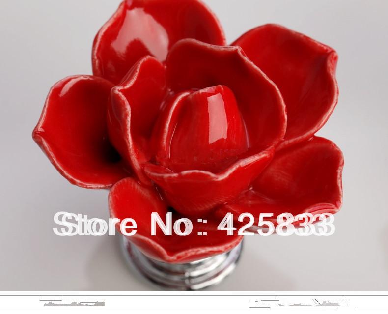 6pcs Red Rose Handles Ceramic Knobs Cabinet Door Kids Flower Pulls Drawer Knobs Kids Dresser Kitchen Accessories Granite Closet