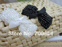 newest fashion crystal bead black white bowknot headwear hairpins barrettes hair accessories hair clips for woman supplies gift