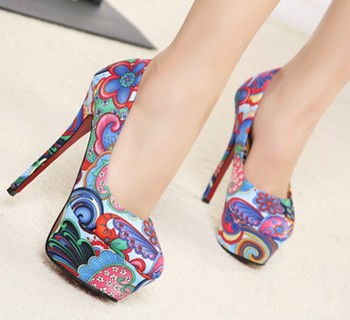 spring autumn sexy red bottom high heels fashion ladies women shoes woman platform pumps girls flowers printed party SXX32652