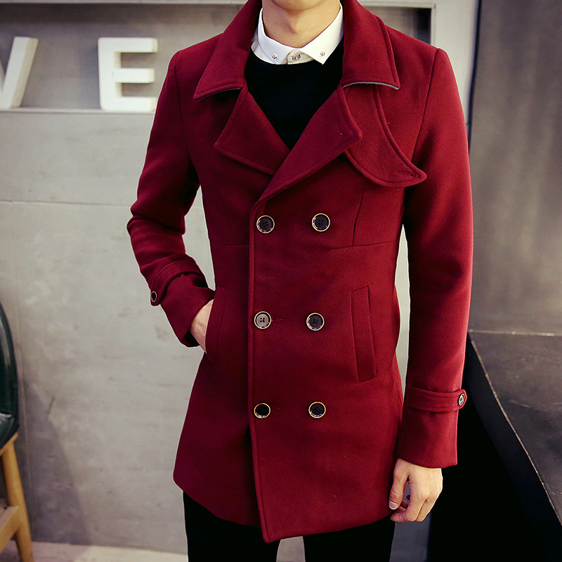 Red Pea Coat Mens Photo Album - Reikian