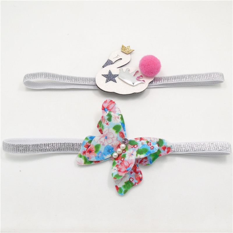 20pc/lot Summer Felt Floral Butterfly Headband White Swan Stretch Hairband Gold Glitter Crown Infant Baby Fairy Silver Head Band(China (Mainland))