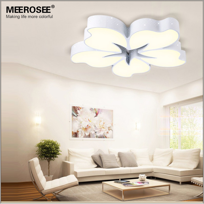 54 watt white metal base led ceiling light flower fancy