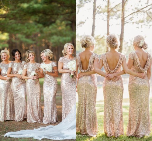 Champagne Gold Long Bridesmaid Dresses Sequined Short Sleeve Floor Length Bridesmaid Dress 2015 Prom Dress Wedding Party Dress(China (Mainland))
