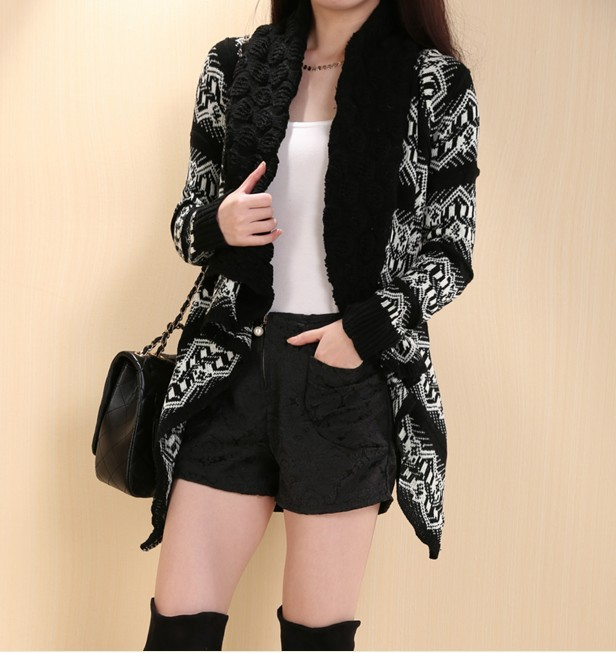 Christmas sweater The new 2016 Han edition ladies knitted flowers large irregular geometrical design sweater coat lapels LD7575(China (Mainland))