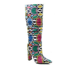 WETKISS Kleurrijke Snake Huid Laarzen Vrouwen Hoge Hakken Dikke Mid-kalf Boot Verontruste Puntschoen Zip Schoen Geplooide Laarzen slouch 2020(China)