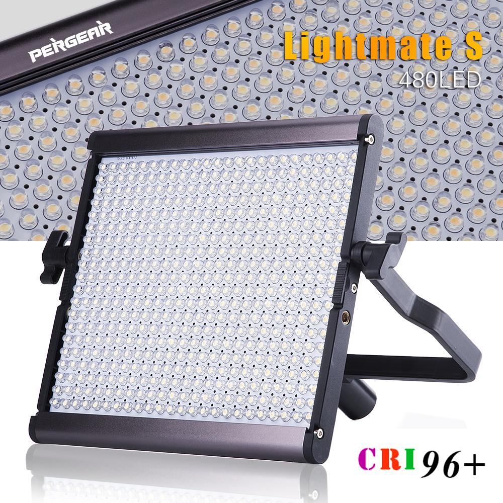 Pergear High CRI 96+ 480 LED Video Flat Panel Light Ultra Thin Dimmable 5600K 29W Dual Power Luz LED Photography Camera Light(China (Mainland))