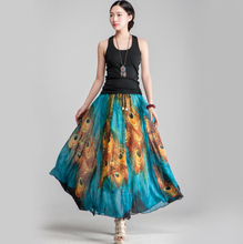 Summer Trendy Women Skirts High Waist Ball Gown Vintage peacock Floral Print Female Pleated Skirt Long Umbrella Skirt XY-26