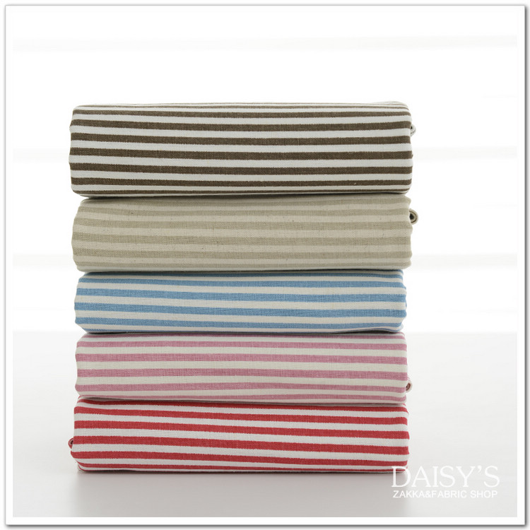 2pc 140*50cm 100% Cotton Printed Fabric 5color Stripe Linen Zakka Diy Handmade Curtain bedding - HELLO SHOES SHOP store