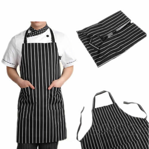 Free Shipping Adjustable Black Stripe Bib Apron with 2 Pockets Chef Waiter Kitchen Cook Tool(China (Mainland))